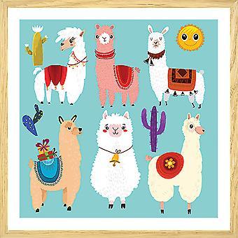 Poster kind lama's cartoon alpaca