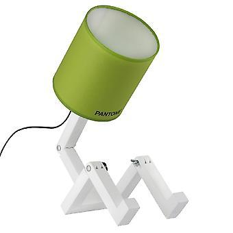 PANTONE Lampe de table Wally Couleur Vert, Blanc, Noir, en Bois, PVC, Métal, Tissu L15xP40xA45 cm