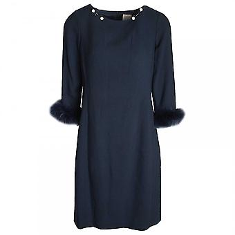 Paola Collection Navy Long Sleeve Pearl & Fur Shift Dress