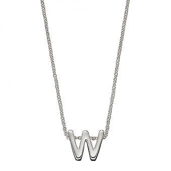Начальный W Простой Серебристый Начальный Ожерелье N4450