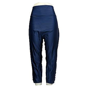 zuda Plus Leggings Interlock Knit w/ Twist Trim Detail Blue A394481