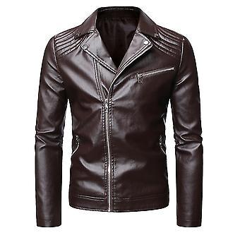 Vin rouge 2xl homme slim lapel affaires décontracté zip veste en cuir homi3696