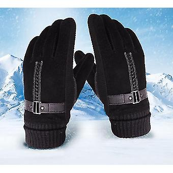 Men's Pigskin Gloves Winter Skiing Outdoor Riding Warm Thick Non-slip Gloves(Black)