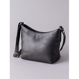 Small Leather Cross Body Bag in Black