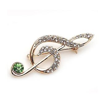 Brooch Pin Musical Symbol Corsage Diamond Inlaid Gold-plated Ladies Brooch