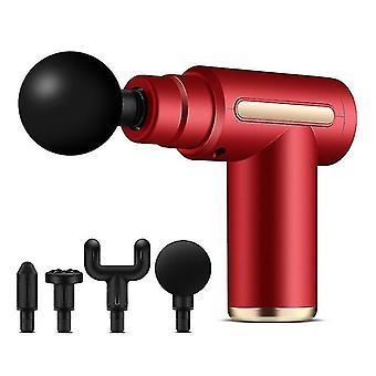 نوع ج شحن بندقية التدليك المحمولة الكهربائية العميقة اهتزاز العضلات الإغاثة اللياقة البدنية بندقية (الأحمر)