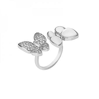 Flying Wing To Wing With Diamond Cat Eye Butterfly Fashionable Opening Adjustable Trendy Color Preservation Ring