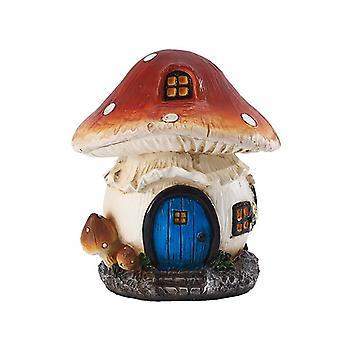11Cm elf mushroom house for garden courtyard decoration resin statue decoration