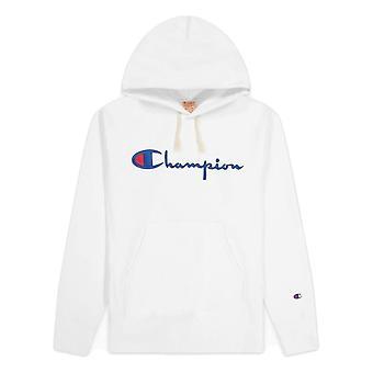 Champion Reverse Weave Script Logo Sweat-shirt à capuche 216499WW001WHT universel toute l'année sweat-shirts pour hommes