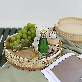Decorative trays handwoven rattan storage tray for household use and decor with handle large
