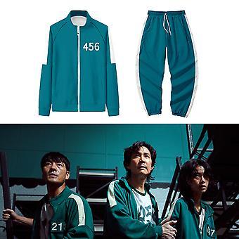 Squid Game Jacket Men And Women Sports Role-playing Clothing Digital Zipper Cardigan 456 Printed Pocket Sweatshirt Suit