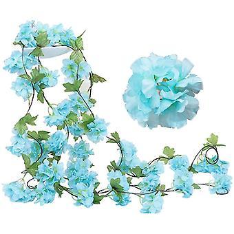 2 Opakowanie Fake Cherry Vine Kwiaty Roślin Sztuczne Bluszcz Wiszące Zielony Liść Jedwab Girlanda Wedding Art Decor (niebieski)