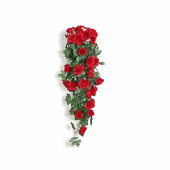 Viti di rose artificiali Viti di fiori artificiali Tubi riscaldatori a parete Soggiorno interno Decorazione del soffitto Viti da fiore in plastica (2 rose rosse a parete)