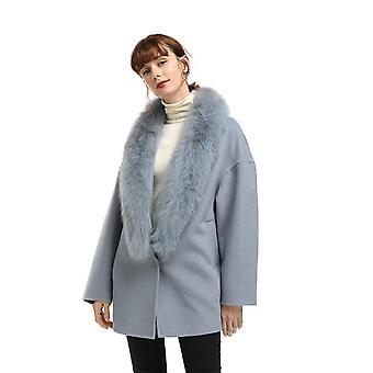 Mimigo New Year Real Fur Coats Mediumn Long Women Wool Double-sided Woolen Coat With Real Fox Fur Collar Christmas Gift For Girls