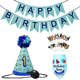 חיות מחמד יום הולדת באנרים כלב כובע צעיפים להגדיר חמוד כלבלב יום הולדת בנדנה עוגה להכניס מסיבת דגל אספקה חגיגה נושא מסיבה קישוט