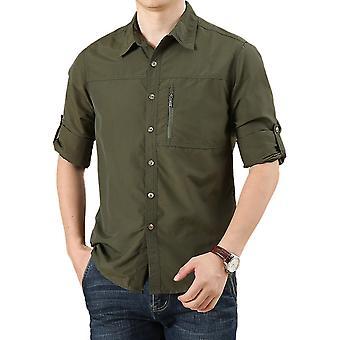 Silktaa Mens Lapel Shirts Zipper Pocket Plain Tops