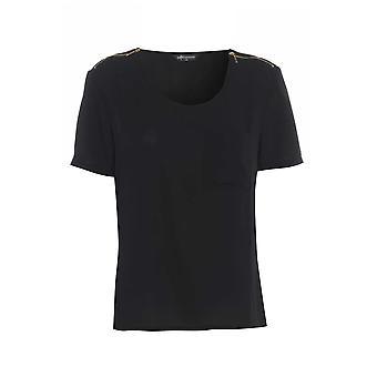 Internacionale Black Tee with shoulder zip detail TP549-14