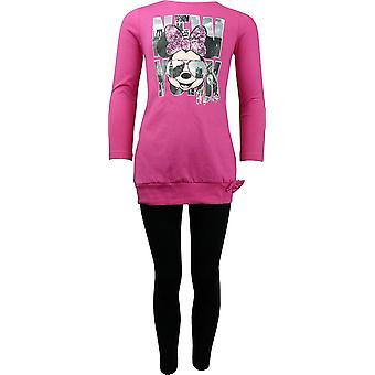 Ragazze Disney Minnie Mouse manica lunga tunica Top & Leggings impostato HO1196