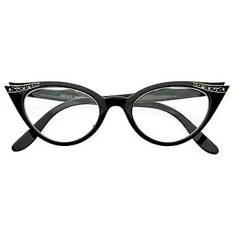 Vintage Cateyes 80-luvun innoittamana muoti selkeä linssi Cat Eye lasit strassikivillä