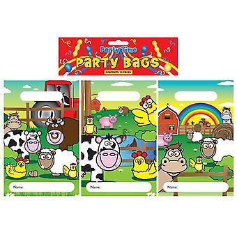 12 Farmyard Animal Party Bags