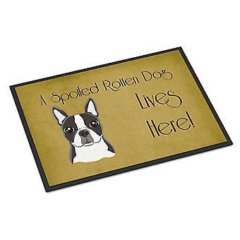 Boston Terriër verwend hond leven hier Indoor of Outdoor Mat 24 x 36