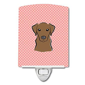 Checkerboard Pink Chocolate Labrador Ceramic Night Light