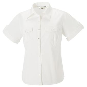 Russell Collection Ladies Roll-Sleeve Cotton Smart Work Shirt Short Sleeve