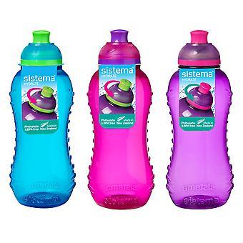 3 Sistema 330ml Twist n Sip Getränkeflaschen, blau, rosa, lila