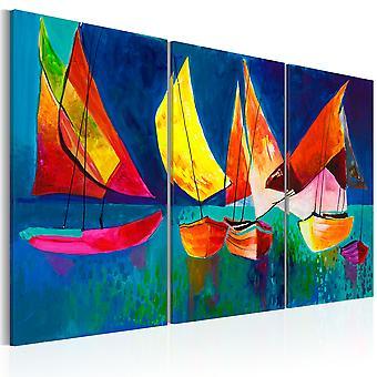 Handmade festmény-színes vitorlások