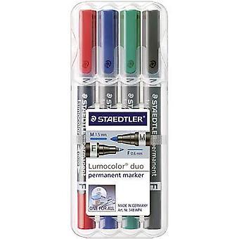 STAEDTLER Lumocolor Duo 348 WP4 permanente marker rood, blauw, groen, zwart waterdicht: Ja