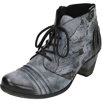 Remonte azul rendas até Zip meados calcanhar amortecido combinação metálica tornozelo botas D8771