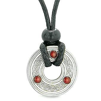 Liten amulett Celtic Triquetra Knut Lucky Charm Mynthänget på justerbar sladd halsband