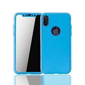 Apple iPhone X puhelimen tapauksessa suojaava tapauksessa full-kansi suojaa lasi sininen Léger