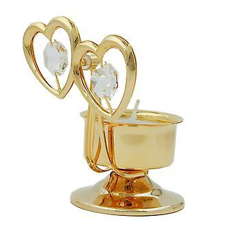 Thee licht houder vergulde kristal glas thee licht, twee harten, met glazen steentjes