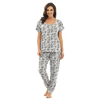 Ladies Wolf & Harte Floral Print Polycotton Long Pyjama Pajama Lounge Wear - Grey Top - S-M