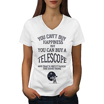Astronomy Telescope Women WhiteV-Neck T-shirt | Wellcoda