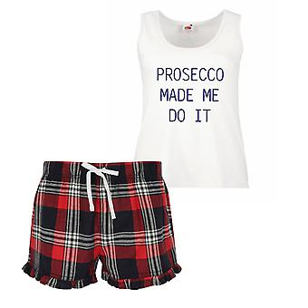 Prosecco Made Me Do It Signore pigiama corto di Tartan Frill Set rosso blu o verde blu