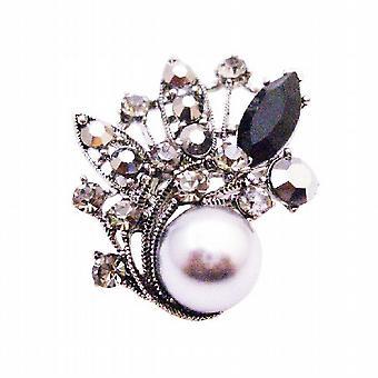 Grå perle & sort diamant krystaller Sølv Casting Vintage broche gave