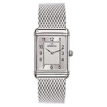 Michel Herbelin Mens Esprit Art Deco roestvrij staal gaas Silver Dial 17468/22BM Watch