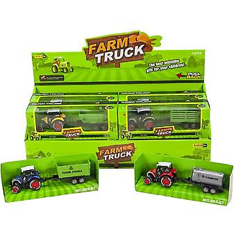 Tractor with cart Die-Cast 17cm Pullback