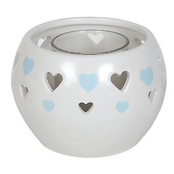 Aroma Cut Out Heart Tealight Holder, Blue