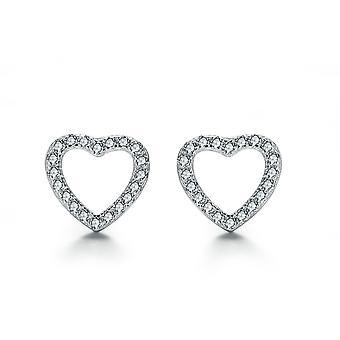Стерлингового серебра 925 пробы микро проложить 9 мм элегантном сердце серьги Стад