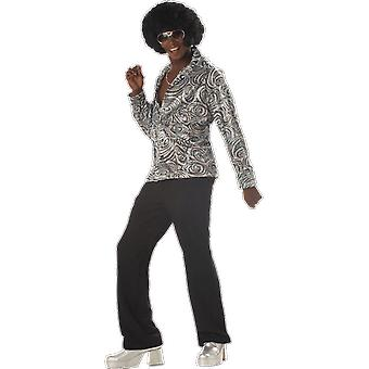 Mens Groovy Disco Shirt with Wig 60s 70s Disco Pimp Fancy Dress Costume