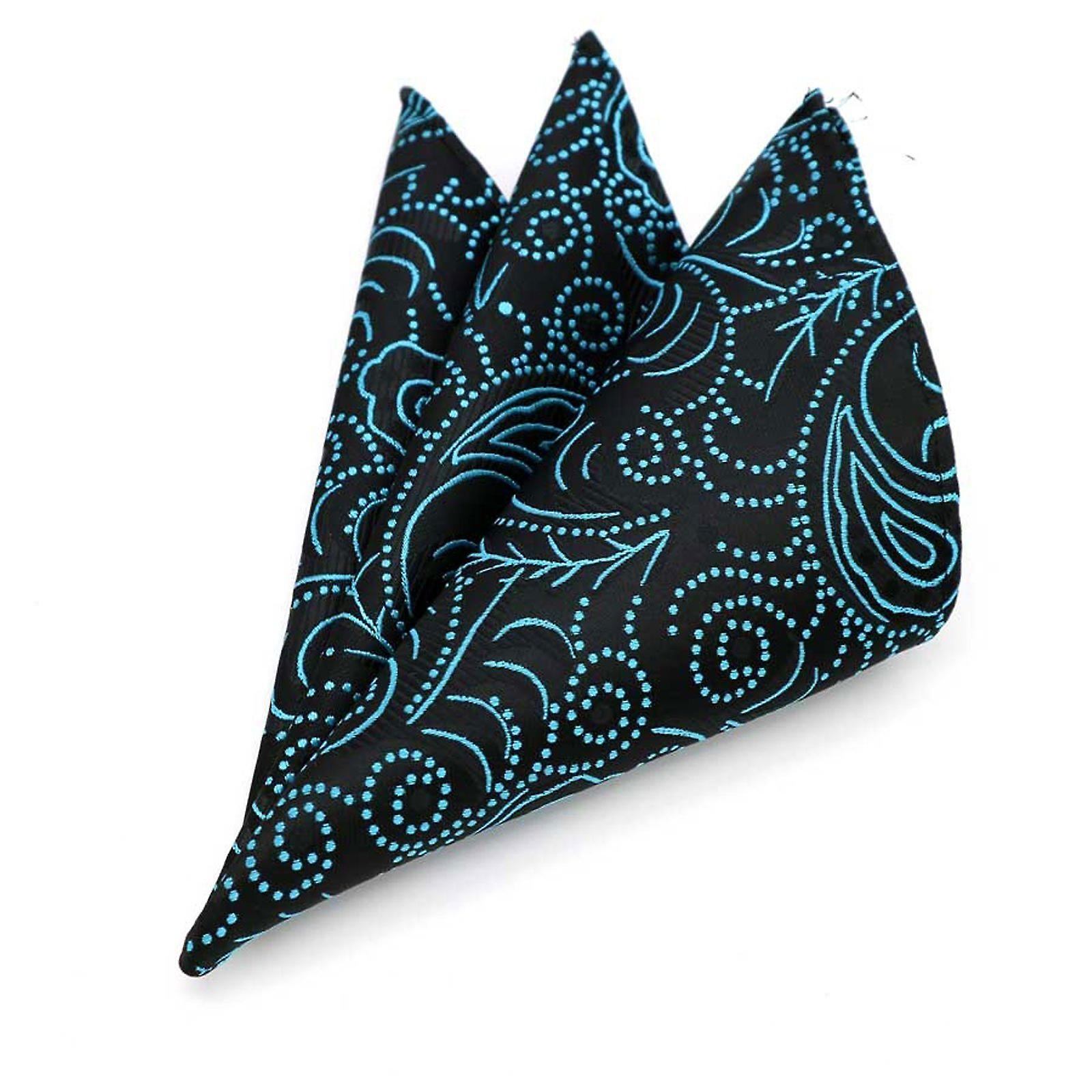 Bright turquoise green paisley pattern pocket square
