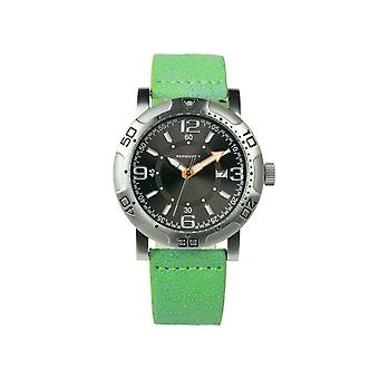 Redshift 7 Galaxy Grained Leather-Band Watch w/Date - Lime/Black