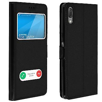 Double window flip standing case for Sony Xperia L3, TPU shell - Black