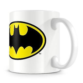 Logotipo de Batman y taza de personaje