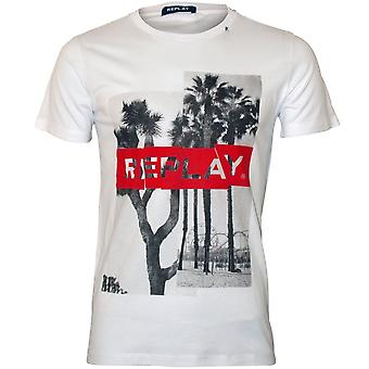 Replay tropical logo col ras du cou T-shirt, blanc