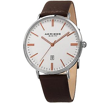 Akribos XXIV Men's Quartz Date Leather Strap Watch AK935SSRG