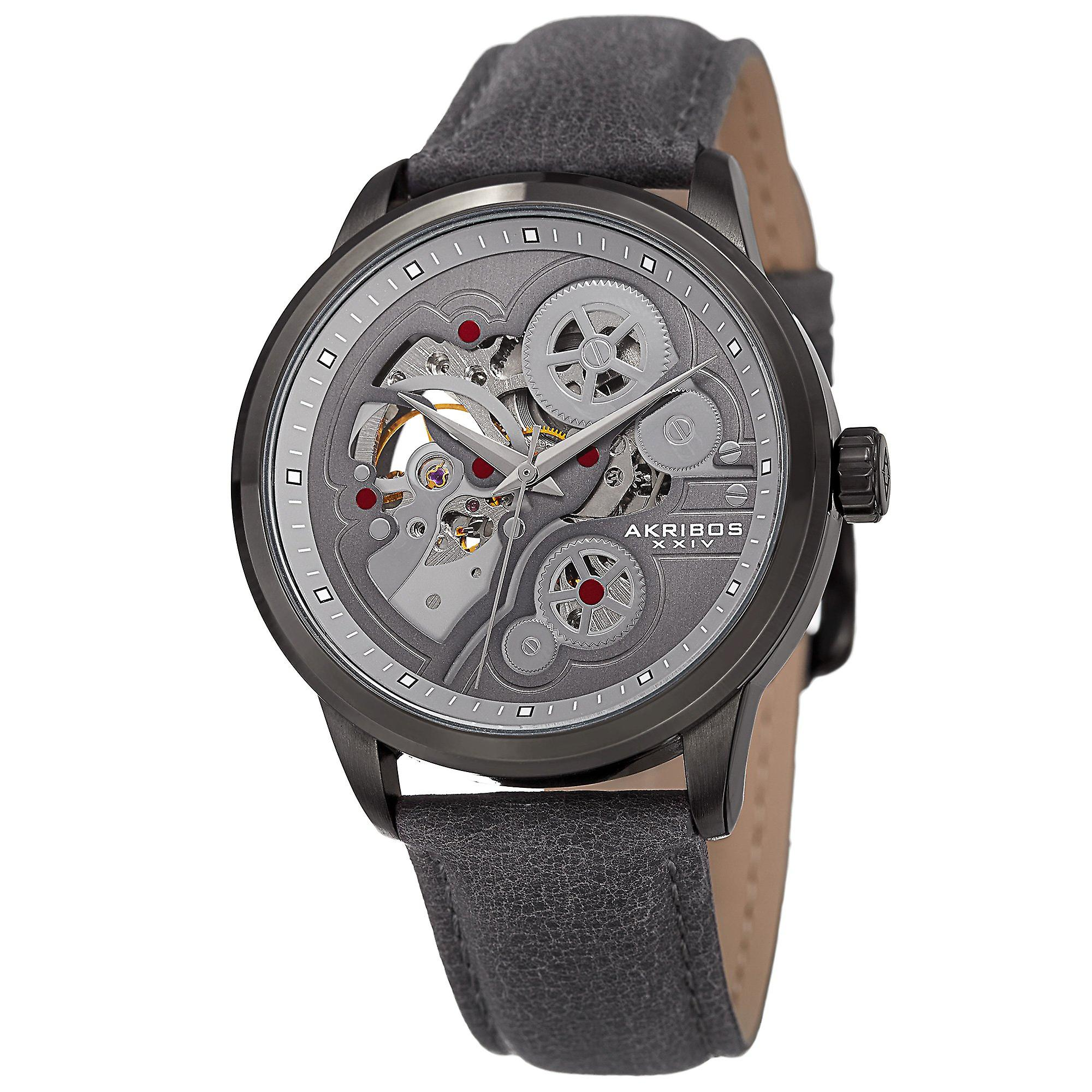 Akirbos XXIV AK855GY Men's Skeleton Automatic Movement Leather Grey Strap Watch